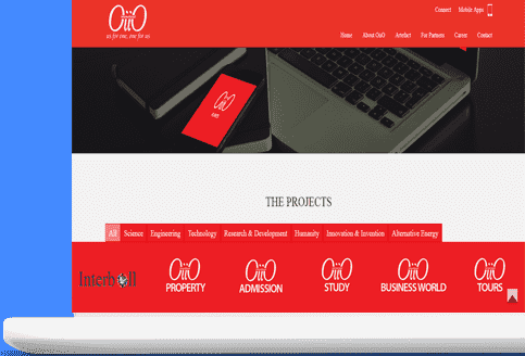 Showing OiiO International website in a laptop